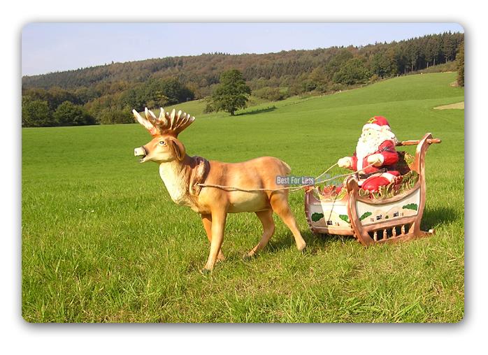 Weihnachtsmann weihnachts schliitten hirsch rentier figur for Rentier dekoration