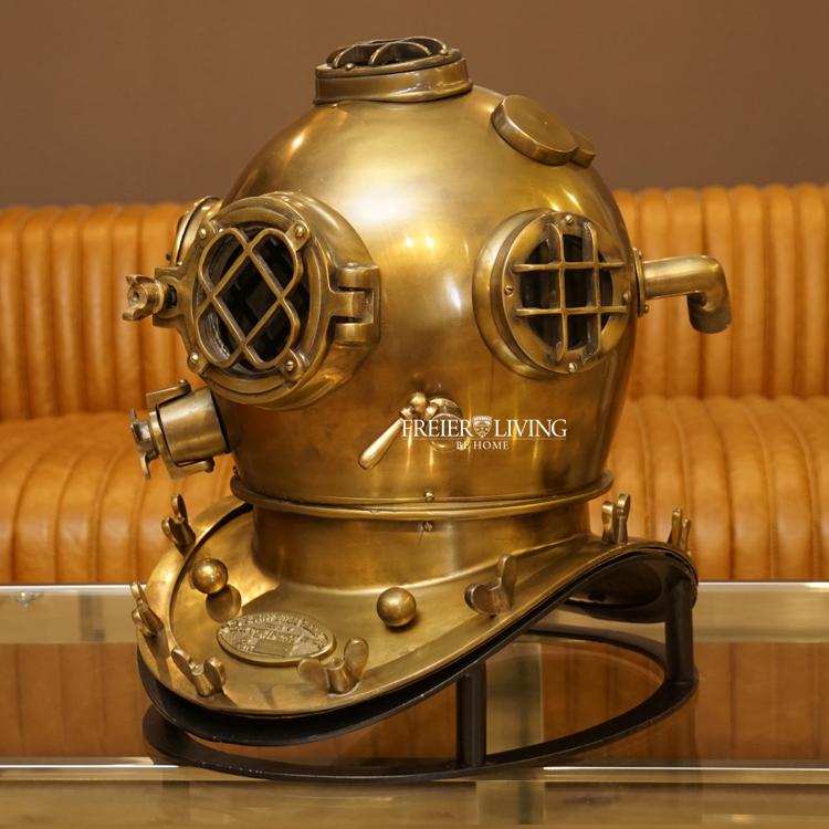 Taucherhelm Tuacherglocke Deko Maritim Gold Dekoration