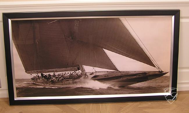 wandbild maritim rahmen segelschiff segelyacht nostalgie schwarz wei fotografie ebay. Black Bedroom Furniture Sets. Home Design Ideas
