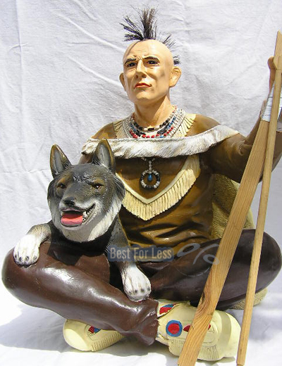 indianer figur skulptur wolf dekofigur western deko neu ebay. Black Bedroom Furniture Sets. Home Design Ideas