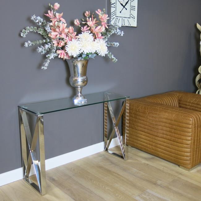 konsolentisch wandtisch glas metall vintage modern. Black Bedroom Furniture Sets. Home Design Ideas