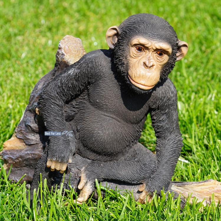 schimpanse affe auf ast figur statue skulptur deko afrika. Black Bedroom Furniture Sets. Home Design Ideas