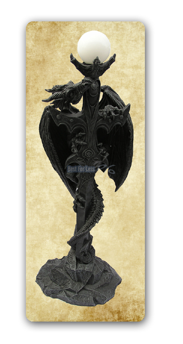 neu deko fantasy drachen d mon mega drachenlampe gothic figur stehleuchte m bel ebay. Black Bedroom Furniture Sets. Home Design Ideas