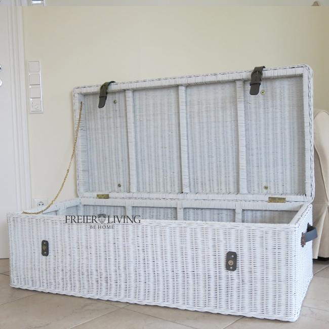 rattan korb wei truhe deckel shabby chic landhausstil. Black Bedroom Furniture Sets. Home Design Ideas