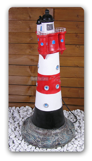Leuchtturm garten roter sand figur maritim ssefahrt deko for Leuchtturm deko garten