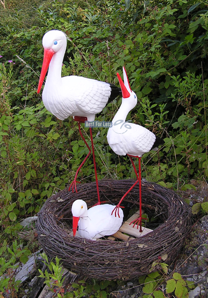 storch storchen nest figur gartenfigur garten vogel statue teich skulptur deko ebay. Black Bedroom Furniture Sets. Home Design Ideas