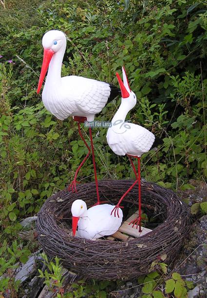storch storchen nest figur gartenfigur garten vogel statue teich skulptur deko ebay. Black Bedroom Furniture Sets. Home Design Ideas