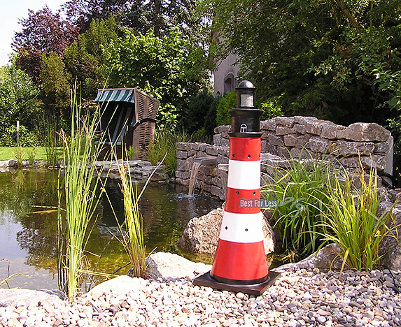 Leuchtturm maritime garten beleuchtu beleuchtet deko rot for Leuchtturm deko garten