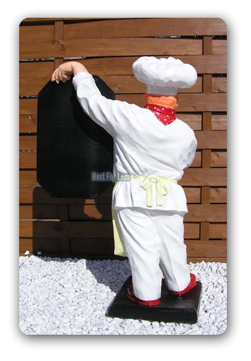 Koch mit tafel figur kochfigur speisekarte gastronomie for Gastronomie deko