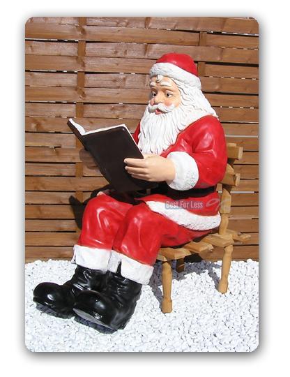 weihnachtsmann sitzend buch deko figur skulptur dekofigur statue fast lebensgro. Black Bedroom Furniture Sets. Home Design Ideas