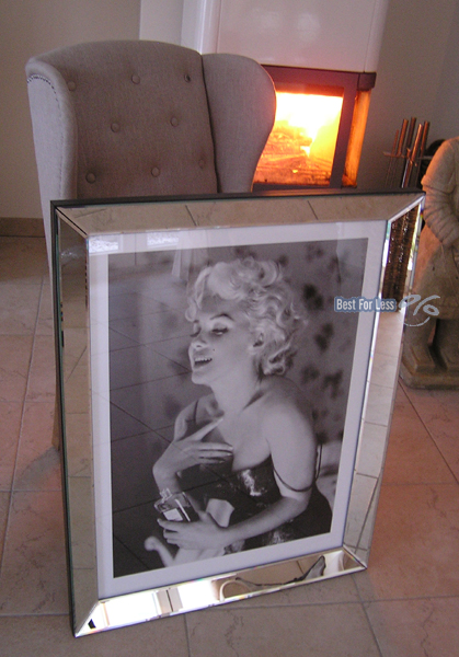 marilyn monroe chanel no 5 wandbild druck mit rahmen spiegelrahmen foto druck ebay. Black Bedroom Furniture Sets. Home Design Ideas