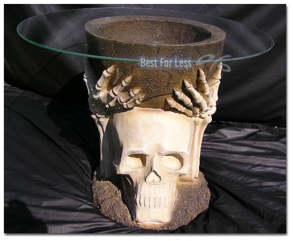 HEAVY METALL TOTENKOPF TISCH MITTELALTER BIKER GOTHIC COUCHTISCH