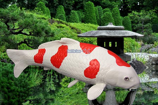 Kohaku koi karpfen fisch statue figur skulptur gartenteich for Koi karpfen teich
