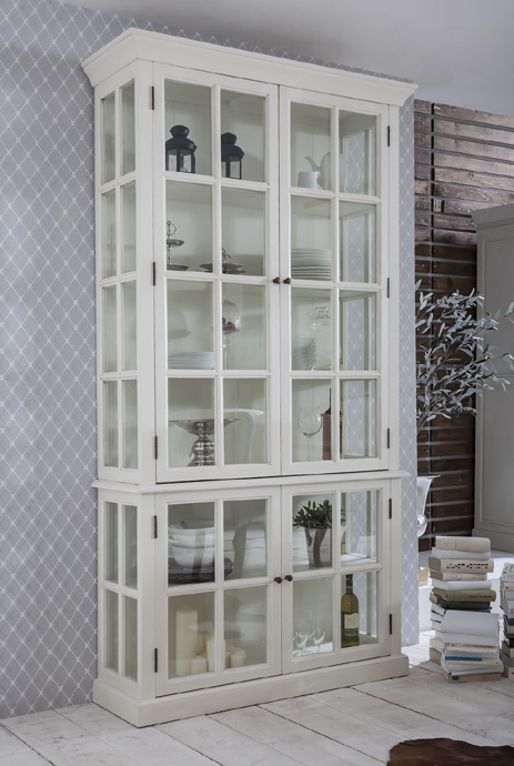 vitrinenschrank vitrine wei landhausstil shabby chic mediterraner impressionen ebay. Black Bedroom Furniture Sets. Home Design Ideas