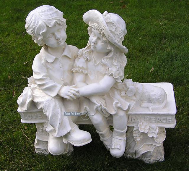 Gartenfigur junge m dchen auf bank garten figur deko for Deko bank garten